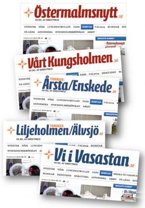 Egrannar på Östermalmsnytt, Vårt Kungsholmen, ÅrstaEnskede, LiljeholmenÄlvsjö, Vi i Vastastan, webb, 23 aug 2014