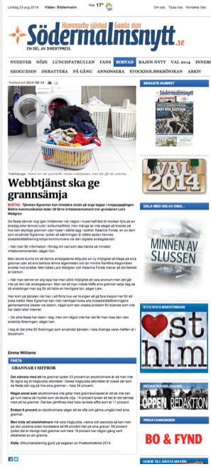 Egrannar på  Södermalmsnytt webb 23 aug 2014