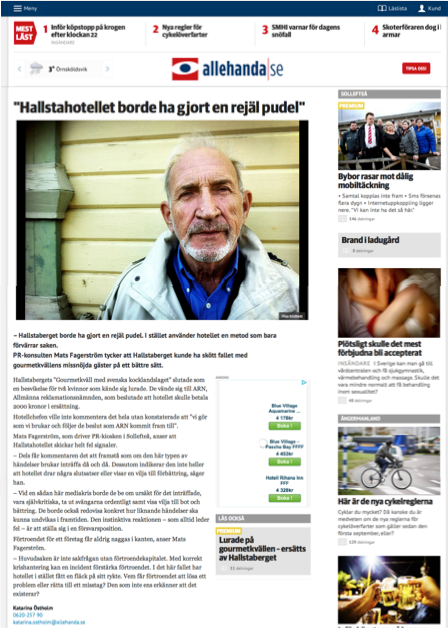 Samma artikel på webben. Klicka på bilden för att läsa artikeln på Tidningen Ångermanlands hemsida.