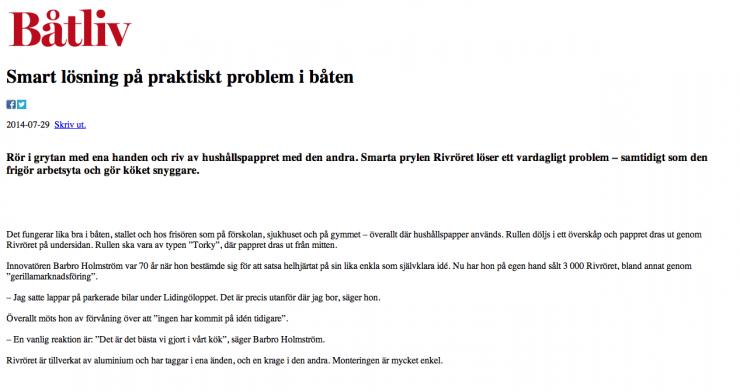 Rivröret i Båtliv den 29 juli 2014.