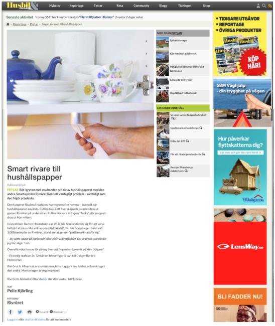 Rivröret på Husbil och Husvagns webb den 22 juli 2014.